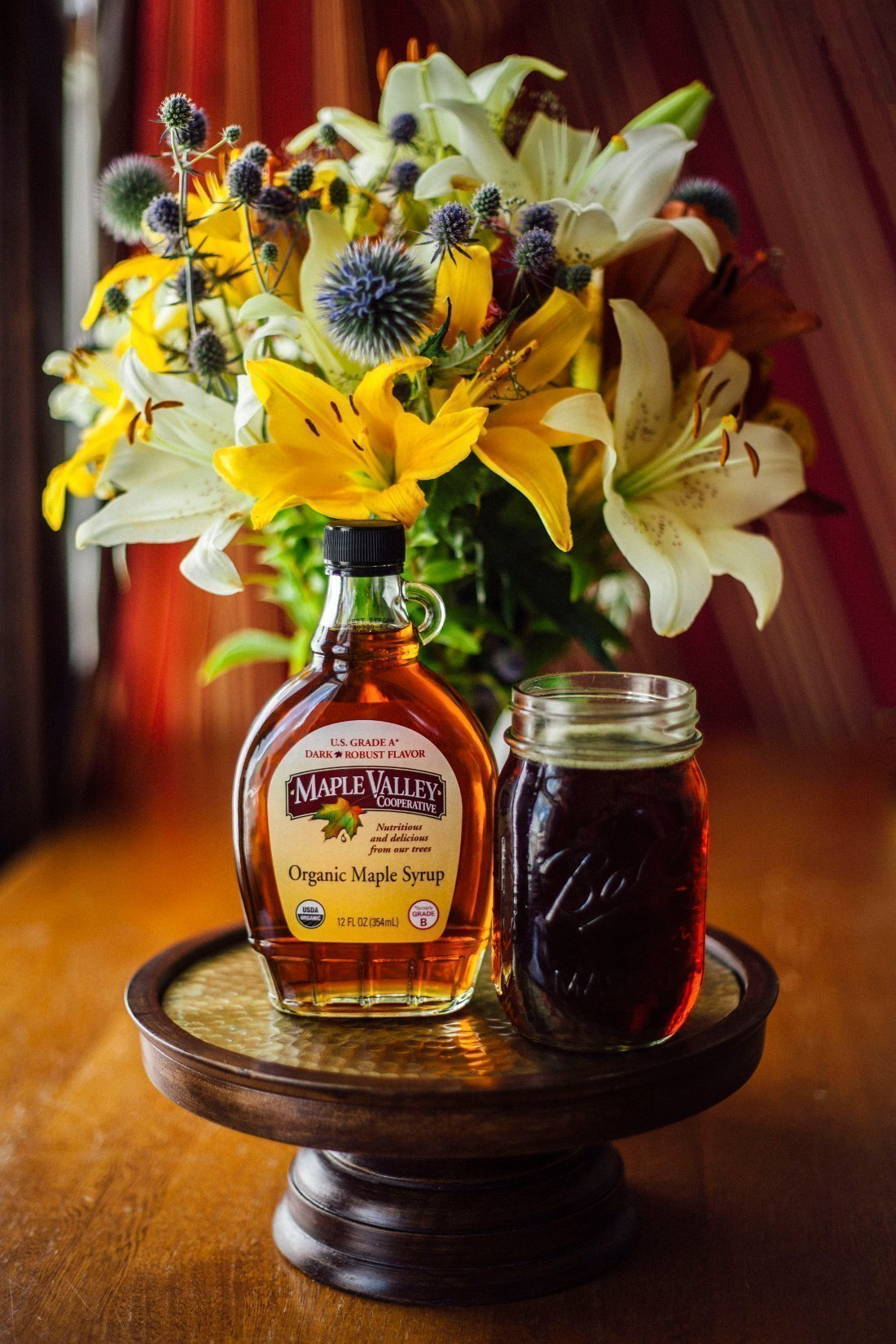 Maple Valley Syrup with flowers