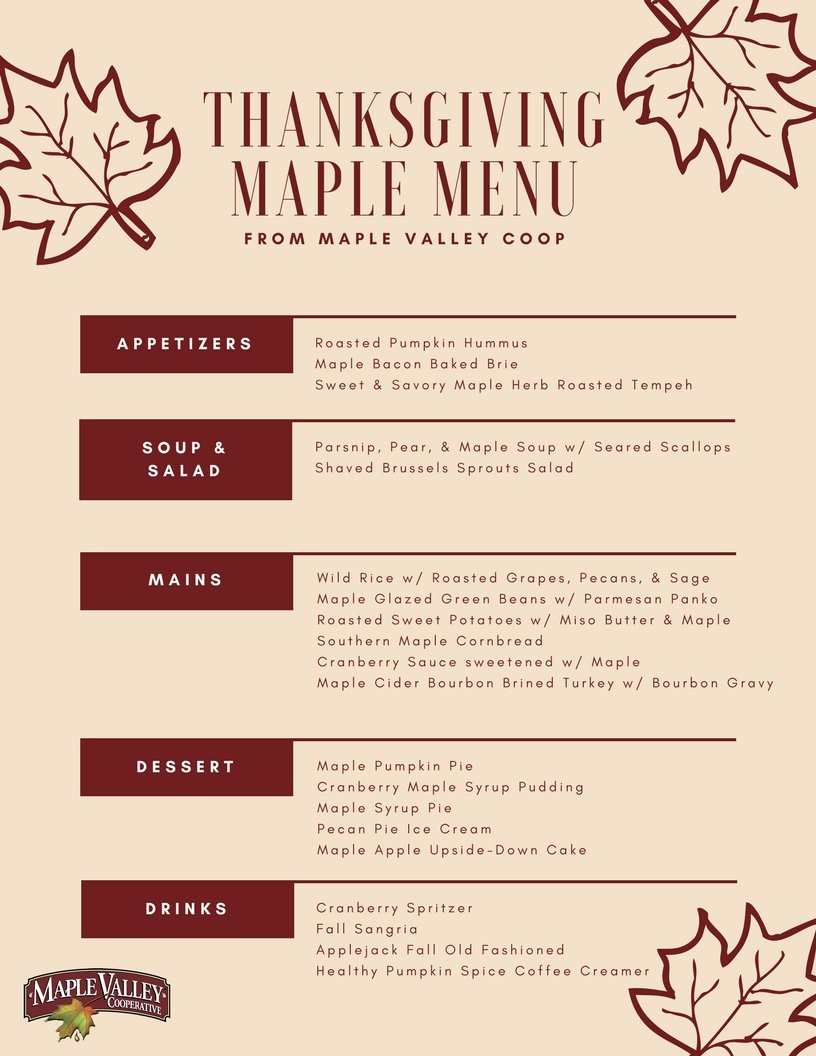 Thanksgiving Maple Menu