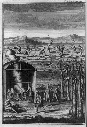 """Native Americans collecting sap and cooking maple syrup in pots, tilling soil into raised humps, and sowing seeds, North America""; 1724; courtesy of Library of Congress"