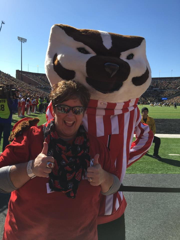 Kim showing her Badger love