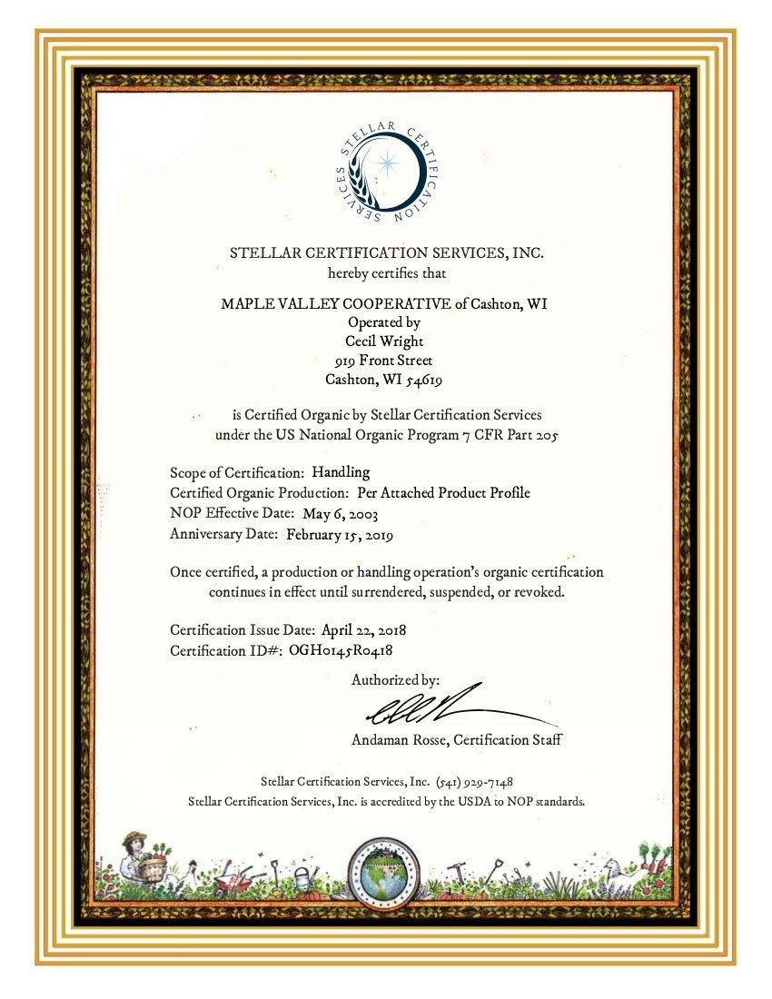 Certificates Maple Valley Cooperative