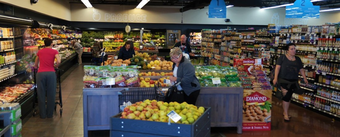 Shoppers in the produce section
