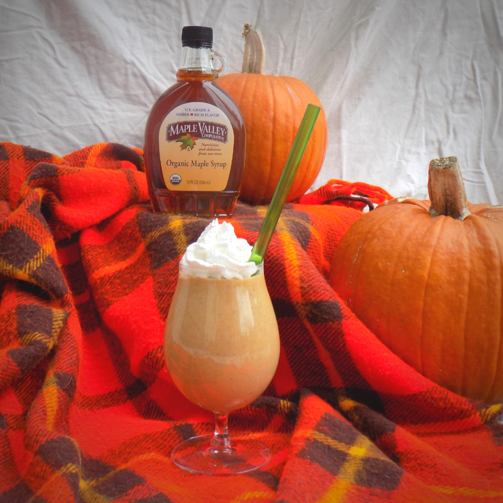 Maple Pumpkin Protein Smoothie Topped with Whipped Cream