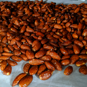 Fragrant maple roasted nuts toasting in the over