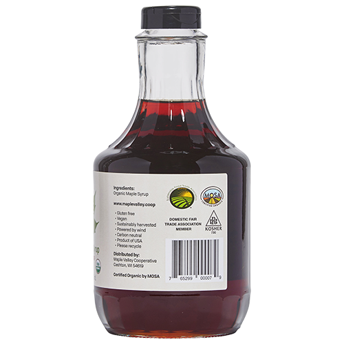 Ingredients and certifications for kosher, organic and fair trade quart sized, dark and robust, maple syrup by Maple Valley