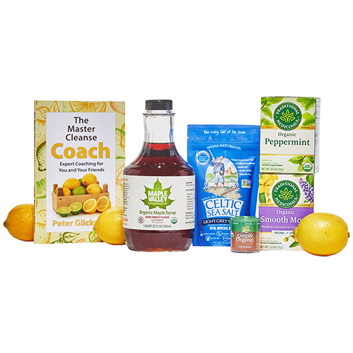 Entire Master Cleanse kit product images including organic maple syrup, master cleanse coach book, celtic sea salt and Traditional Medicinals teas.