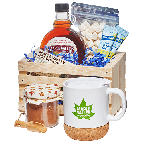 Hot chocolate kit by Maple Valley Coop including mug, cocoa, organic maple syrup, marshmallows, coconut oil and recipe