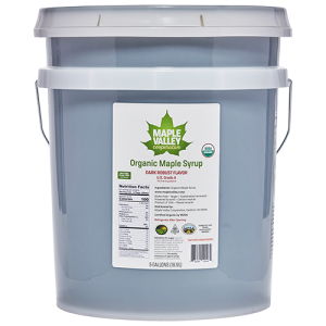 Five gallon pail of dark and robust organic maple syrup by Maple Valley Cooperative