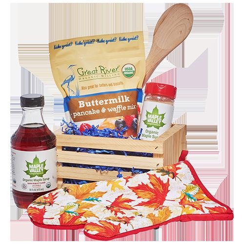 Buttermilk pancake kit with organic maple sugar, organic maple syrup, pancake mix and recipe