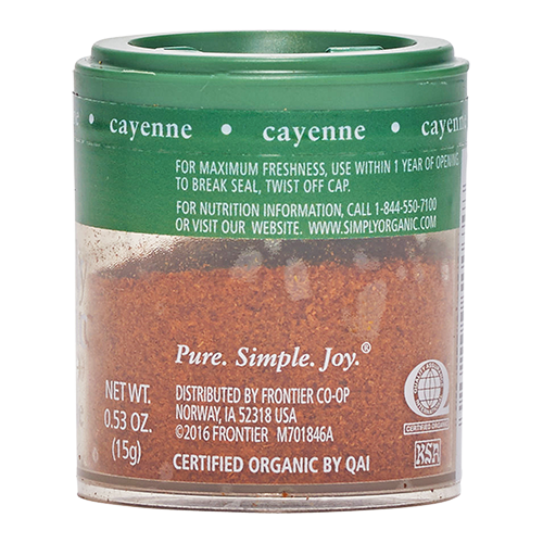 Product information for Simply Organic Cayenne