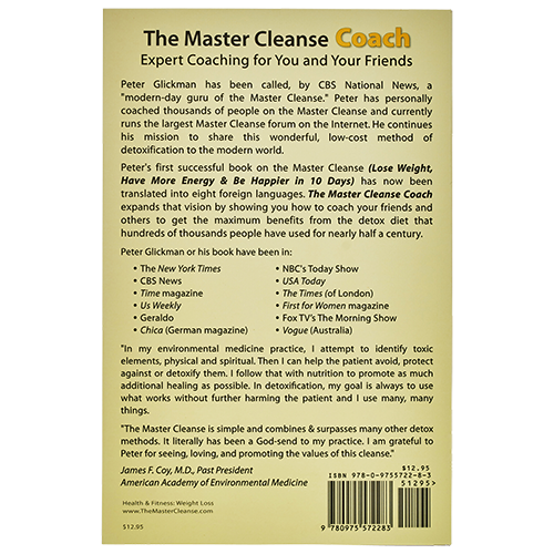 The Master Cleanse Coach but Peter Glickman - back of the book