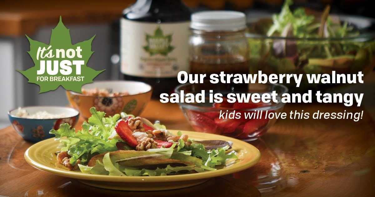 Our strawberry walnut salad is sweet and tangy – kids will love this dressing!